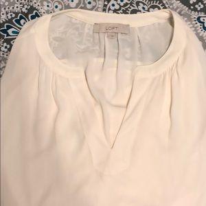 LOFT Long Sleeve Cream Blouse